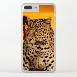 Leopard and Sunset Clear iPhone Case