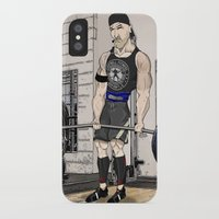 fitness iPhone & iPod Cases featuring Campbell Fitness Deadlift by Juan Perednik