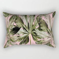 Large green leaves on a pink background - beautiful colors Rectangular Pillow
