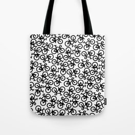 Black Bikes Pattern Tote Bag