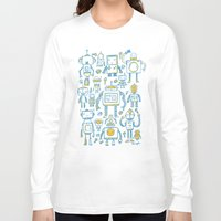 robots Long Sleeve T-shirts featuring Robots by Peter Clayton
