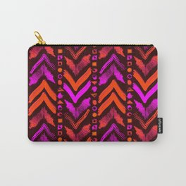 Tribal Scribble Kilim in Neon Coral + Brown Carry-All Pouch