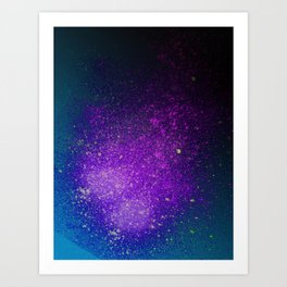 """Purple Stars Paint splatter on Deep Blue """"Dream On"""" Art Print"""