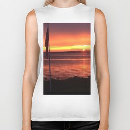 Sunset Over the Ocean Biker Tank