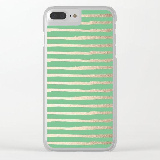 Abstract Stripes Gold Tropical Green Clear iPhone Case