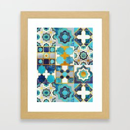 Spanish moroccan tiles inspiration // turquoise blue golden lines Framed Art Print