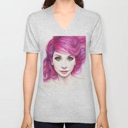 Pink Hair Green Eyes Beautiful Girl Unisex V-Neck