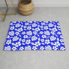 Blue and White Hibiscus Aloha Hawaiian Flower Blooms and Tropical Banana Leaves Pattern Rug