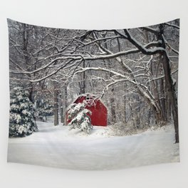 Red Barn in the Snow 2011 Wall Tapestry