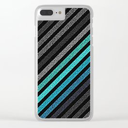stripeS : Slate Gray Teal Blue Clear iPhone Case