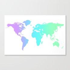 Ocean Gradient World Map Canvas Print