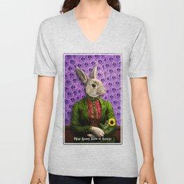 Miss Bunny Lapin in Repose Unisex V-Neck