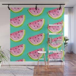 Juicy Watermelon On Aqua   Wall Mural
