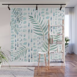 Boho Bead and Leaf Watercolor Wall Mural