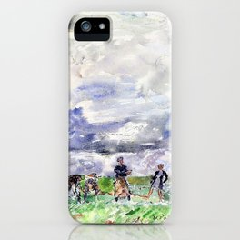 Figures working in a field - Digital Remastered Edition iPhone Case