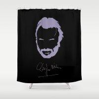 christopher walken Shower Curtains featuring Christopher Hitchens Minimalist Illustration by Milos Cakovan