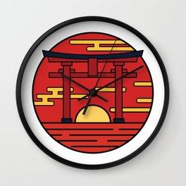 Sunset Torii Gate Wall Clock
