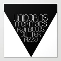 unicorns Canvas Prints featuring Unicorns by Mia & Booboo