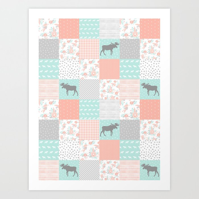 Modern Quilt Pattern Square Quilt Baby Nursery Gender Neutral Gifts