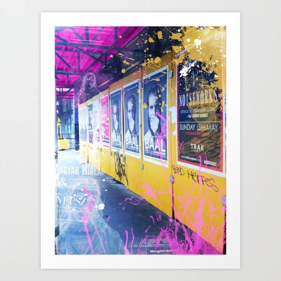 purple and yellow _  little burke graffiti Art Print