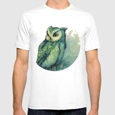 Green Owl White LARGE Mens Fitted Tee