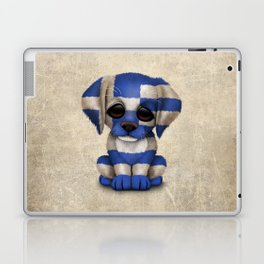 Cute Puppy Dog with flag of Greece Laptop & iPad Skin