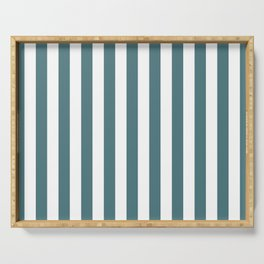 Beetle Green and White Vertical Beach Hut Stripes Serving Tray