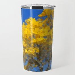 Blooming tree Geometric yellow and blue Travel Mug