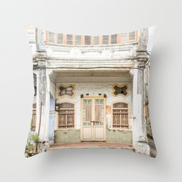 George Town, Penang Shop House Street Scene Throw Pillow