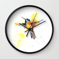 hummingbird Wall Clocks featuring hummingbird by emegi