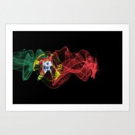 Portugal Smoke Flag on Black Background, Portugal flag Art Print