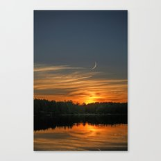 Sunset, Lake, Pine Forest & Crescent Moon Composite Canvas Print