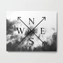 Foggy Forest Compass Metal Print