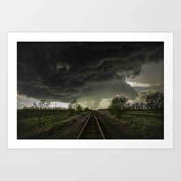 Give Me Shelter - Storm Over Railroad Tracks in Kansas Art Print