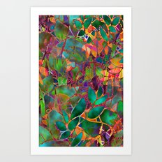 Floral Abstract Stained Glass G176 Art Print