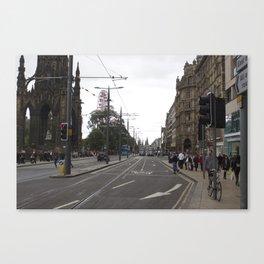 Buses along Princes Street Edinburgh Canvas Print