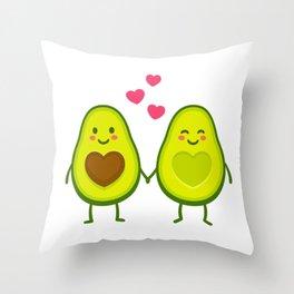 Cute avocados in love Throw Pillow