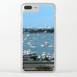 Miami skyline from the sea Clear iPhone Case