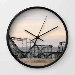 Jet Star Roller Coaster in Ocean After Hurricane Sandy Wall Clock