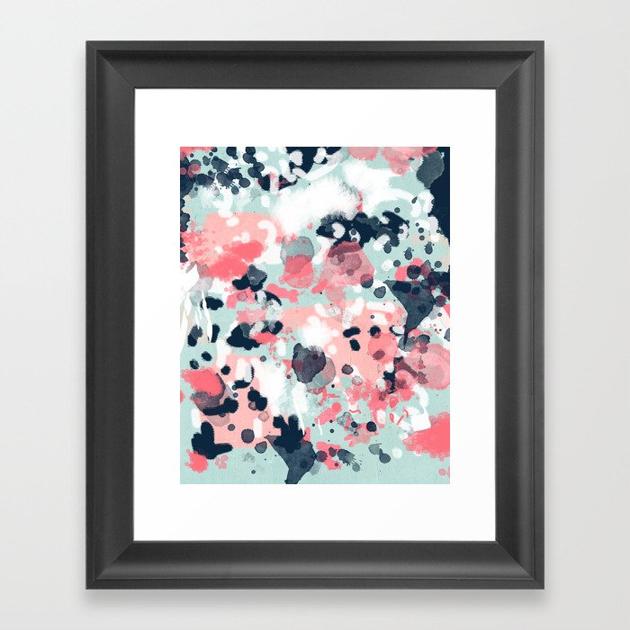 Jilly - modern abstract gender neutral canvas art print large scale abstract painting Gerahmter Kunstdruck
