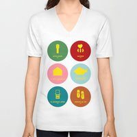 wes anderson V-neck T-shirts featuring Wes Anderson by Chay Lazaro