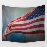 flag Wall Tapestries featuring American Flag by Jai Johnson