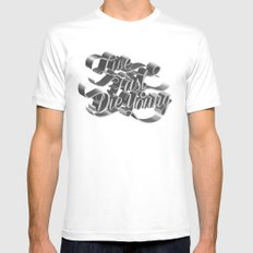 Live Fast Die Young - Black and White Mens Fitted Tee MEDIUM White