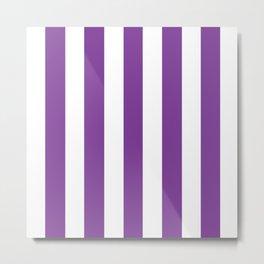 Cadmium violet - solid color - white vertical lines pattern Metal Print
