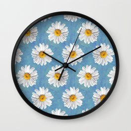 Daisy Blues - Daisy Pattern on Cornflower Blue Wall Clock