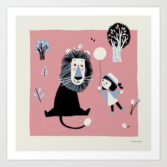 Lion In The Park Art Print