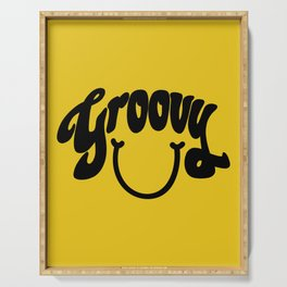 Groovy Smile // Black Smiley Face Fun Retro 70s Hippie Vibes Mustard Yellow Lettering Typography Art Serving Tray