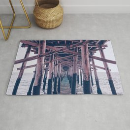 Balboa Pier Print {2 of 3} | Newport Beach Ocean Photography Magenta Summer Sun Wave Art Rug