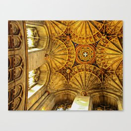 Looking to heaven: fan ceiling in Canterbury Cathedral Canvas Print