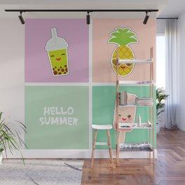 Hello Summer bright tropical card, pineapple, smoothie cup, ice cream, bubble tea. Kawaii cute face. Wall Mural